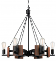 "Bronze Iron Wood Chandelier 6 Lights 28""Wx29""H"