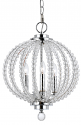 "Crystal Style Sphere & Chrome Pendant 3 Lights 13""Wx16""H"