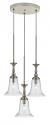 "Belair Brushed Steel Glass Pendant 3 Light 15.5""W"