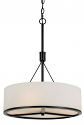 "Black Metal Cream Drum Shade Pendant 3 Lights 18""Wx26""H"