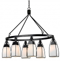 "Black Metal Cream Shades Island 6 Lights 32""Wx19""H"