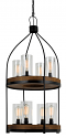 "Bronze Iron Wood Chandelier 8 Light 20""Wx39""H"