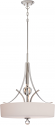 "Connie Polished Nickel Glass Drum Pendant 3 Lights 20""Wx37""H"