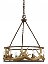 "Antler Chandelier Iron Drum Shape 26""Wx31""H"