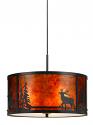 "Deer Elk Pine Trees Drum Mica Pendant Light 18""Wx8.5""H"