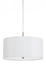 """White Fabric Drum Pendant Light 18""""Wx8.5""""H"""