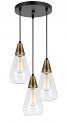 "Antique Brass Black & Glass Pendant Light 13""W"