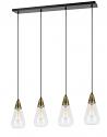 "Antique Brass Black Pendant Light Glass Shades 37""W"