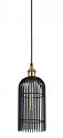 "Black Bronze Antique Brass Cage Pendant Light 6""Wx15""H"