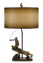 "Fisherman Lamp Catching Fish Under Log 31""H - Sale !"