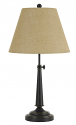 "Adjustabl Bronze Table Lamp Burlap Shade 25-30""H"