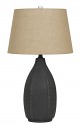 "Charcoal Ceramic Table Lamp Burlap Drum Shade 28""H"