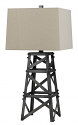 "Bronze Riveted Oil Derrick Iron Lamp Linen Shade 31""H"