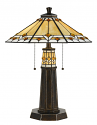 "Jeweled Amber Diamonds Mission Prairie Tiffany Table Lamp 25""H"