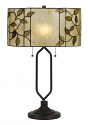 "Modern Drum Shade with Vines Tiffany Table Lamp 23""H"