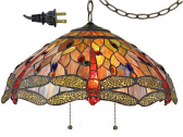 "Red Sunset Dragonflies Tiffany Chandelier 18""W"