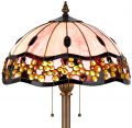 "Pink Burgundy Gold Yellow Amber Jeweled Tiffany Floor Lamp 62""H - Sale !"
