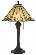 "Cream with Amber Jewels Mission Tiffany Table Lamp 26""H"
