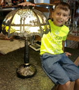 Tiffany Lamp Base Created To Match Slag Lamp Shade