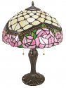 "Jeweled Pink & Green Tiffany Lamp 22""H"