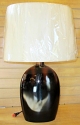 "Tobacco Brown Oval Ceramic Lamp Drum Linen Shade 27.5""H"