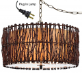 "Tree Wood Twigs Drum Swag Lamp 18""W"