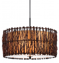 "Tree Wood Twigs & Parchment Drum Pendant Light 18""W"