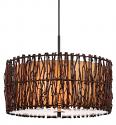 "Tree Wood Twigs Drum Pendant Light 18""W"