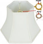 "Hexagon Silk UNO Lamp Shade Cream, White 10-12""W"