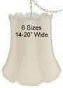 """V Notch Bell Drum Silk Swag Lamp Cream, White, Beige 14-18""""W"""