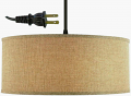"Very Shallow Drum Burlap Swag Lamp 15""W - Sale !"