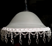 "Victorian Alabaster Glass Swag Light 13-16""W"