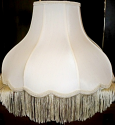 "Umbrella Bell Victorian Silk Lamp Shade Cream or White, Matching Fringe 16-20""W"