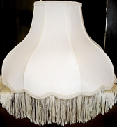 "Umbrella Bell Victorian Silk Lamp Shade Matching Fringe 16-20""W"