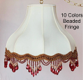 "Umbrella Bell Victorian Silk Lamp Shade Cream or White, 10 Beaded Fringe Colors 16-20""W"