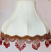 "Umbrella Bell Victorian Silk Lamp Shade Cream, White, Beads or Fringe 16-20""W"