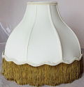 "Umbrella Bell Victorian Silk lamp Shade Cream or White, Gold Fringe 16-20""W"