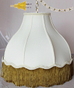 "Victorian Umbrella Bell Swag Lamp Gold Fringe 14-20""W"