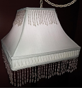 "Victorian Beaded Fringe Square Swag Lamp 12-16""W"