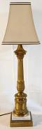 """Vintage Burnished Brass & Marble Lamp 31""""H"""
