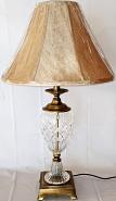 Vintage Crystal & Corinthian Brass Lamp