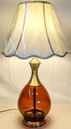"""Vintage Amber Glass Hollywood Regency Lamp 29""""H"""