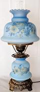 "Vintage Blue Hurricane Lamp 24""H"