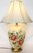 """Ivory Glass Lamp w/Flowers 25""""H"""