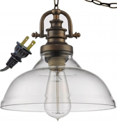 "Virginia Bronze & Glass Plug In Pendant Light 10""Wx9""H"