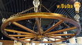 "Large Wagon Wheel Chandelier 42-48""W"