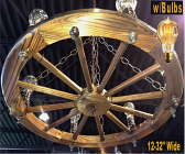 "Wagon Wheel Chandelier 12-32""W"