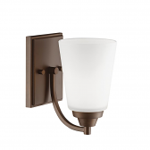 """Rubbed Bronze Sconce Light Etched White Flared Glass 5""""Wx8""""H"""