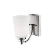 """Satin Nickel Sconce Light Etched White Flared Glass 5""""Wx8""""H"""