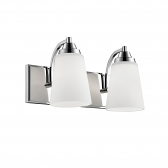 """Chrome Bathroom Wall Light Etched White Flared Glass 14""""Wx8""""H"""